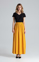 Flowy Pleated Maxi Skirt in Mustard by FIGL