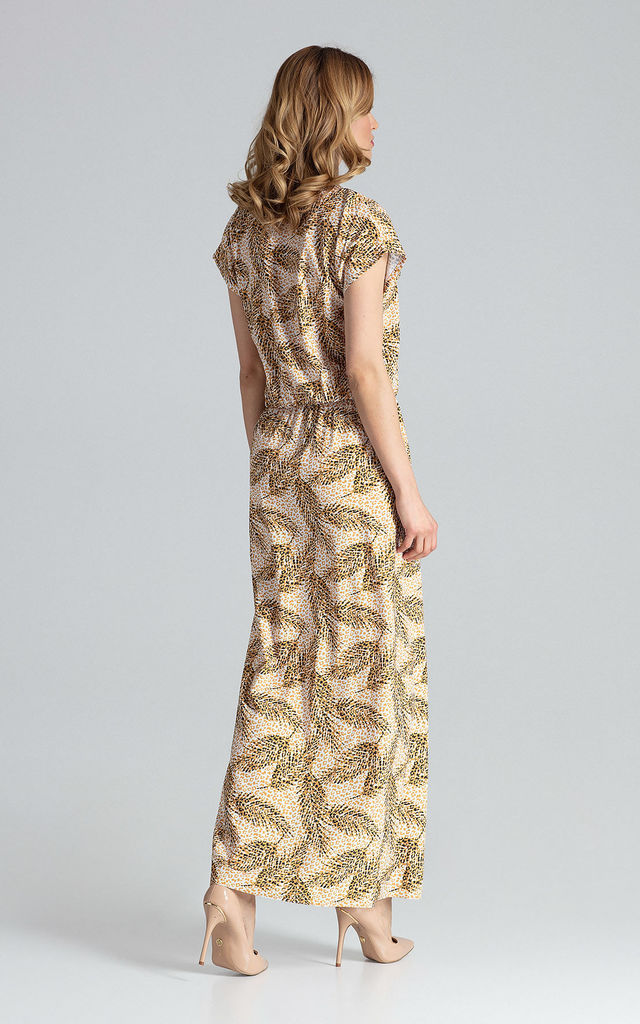 Short Sleeve Maxi Dress with Elasticated Waist in Neutral Print by FIGL