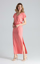 Short Sleeve Maxi Dress with Elasticated Waist in Coral by FIGL