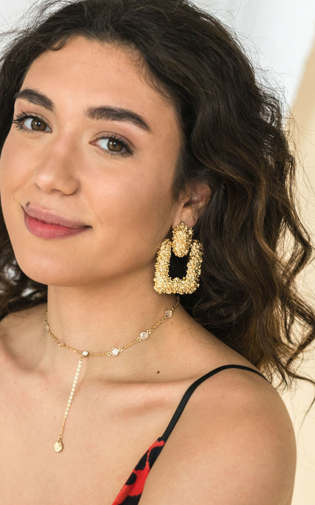 Gold Chunky Door Knocker Drop Earrings by HAUS OF DECK