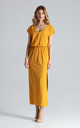 Short Sleeve Maxi Dress with Elasticated Waist in Mustard by FIGL