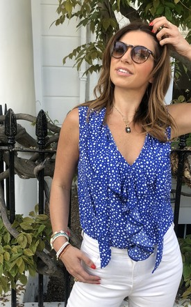 HUDSON SLEEVELESS TOP in Blue Dots by Libby Loves