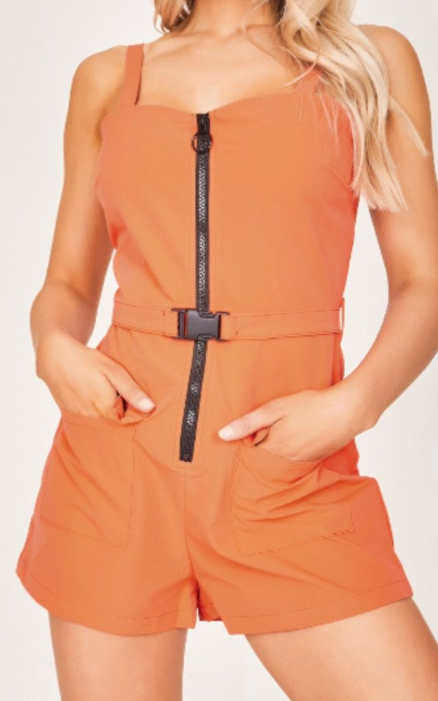 Orange Belted Zip Front Playsuit by Hachu