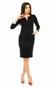 Pencil Midi Dress with 3/4 Sleeves in Black by Bergamo