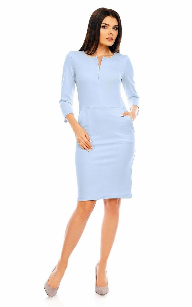 Pencil Midi Dress with 3/4 Sleeves in Blue by Bergamo