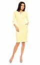 Pencil Midi Dress with 3/4 Sleeve in Yellow by Bergamo