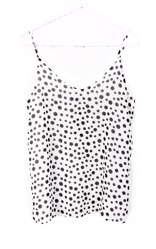 Polka Dot Strappy Cami Top in White by Urban Mist