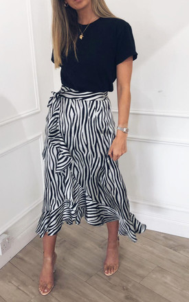 EXCLUSIVE Lulu Wrap Midi Skirt Blue Zebra by Pretty Lavish