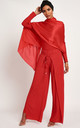 Split Detail Wide Leg Trouser - Red by Neish Clothing