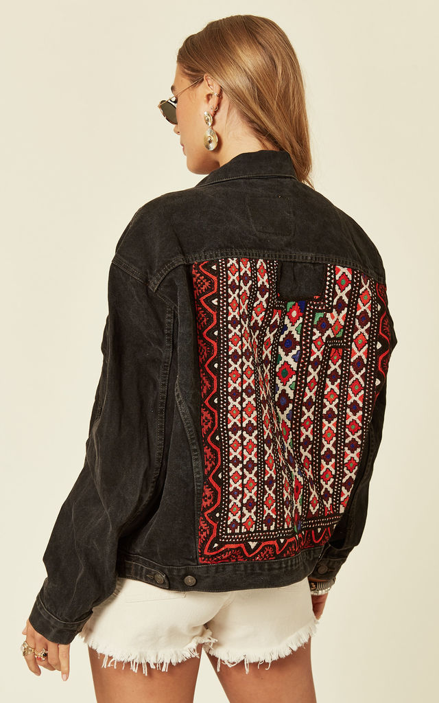 Black Denim Jacket with Embroidered Back Panel by Denim Stories
