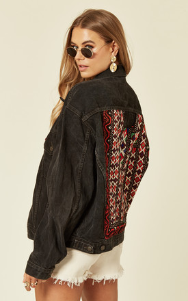 Black Denim Jacket With Embroidered Back Panel by Denim Stories Product photo