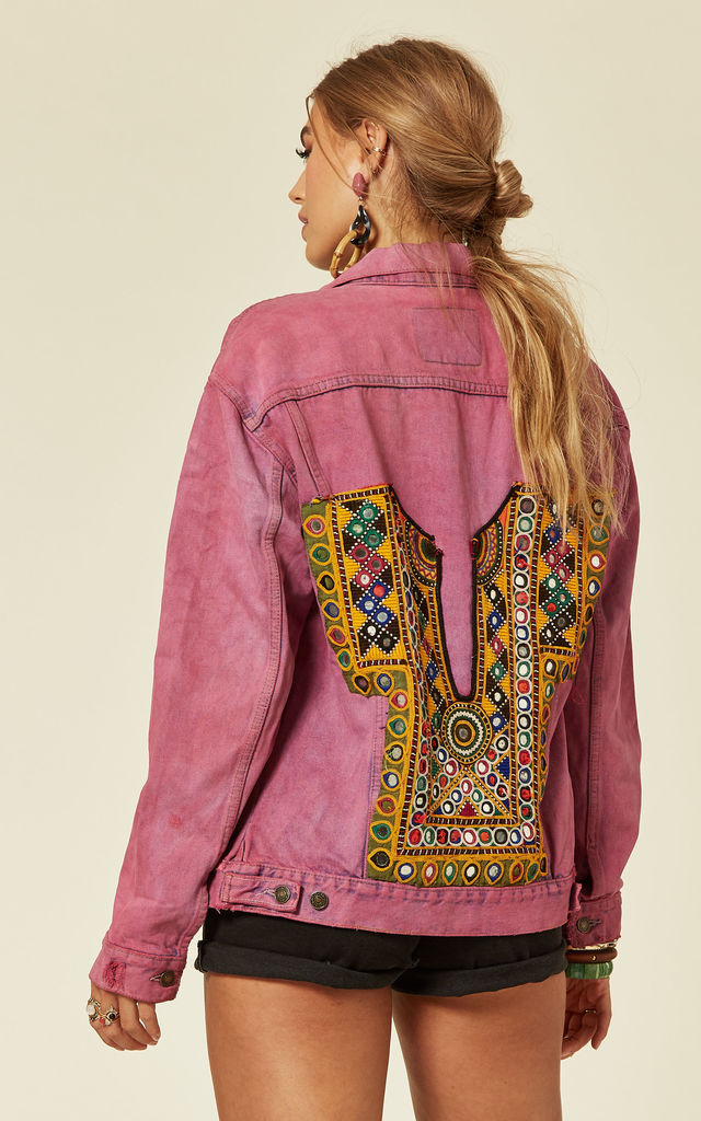 Pink Denim Jacket with Multicoloured Embroidery by Denim Stories