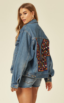 Relaxed Fit Denim Jacket With Embroidered And Embellished Back by Denim Stories Product photo