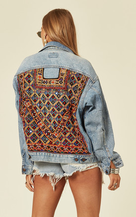 Light Wash Denim Jacket with Embroidery on Back by Denim Stories