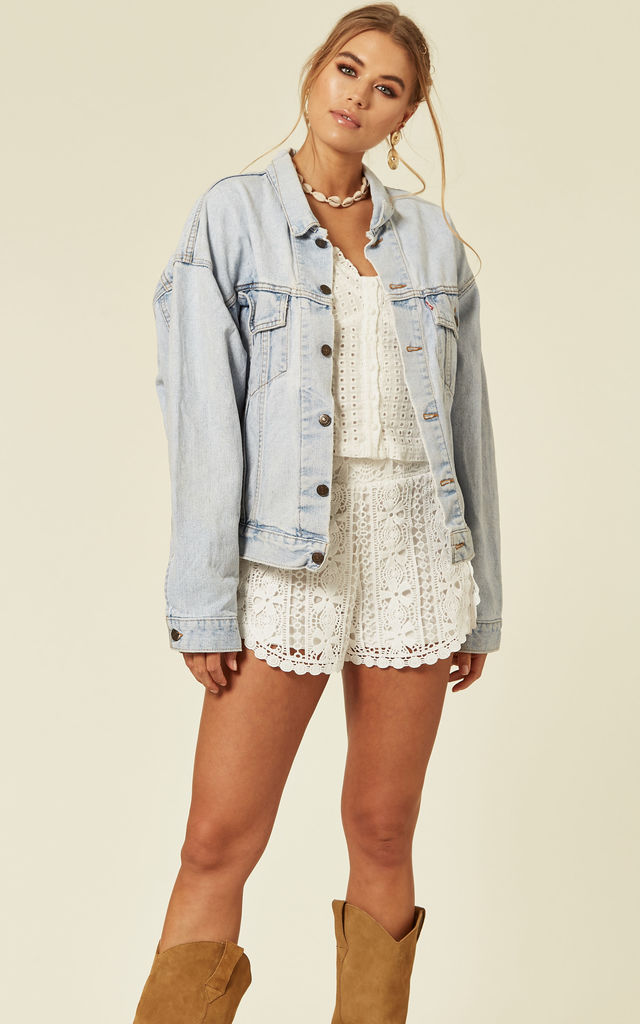 Oversized Boxy Light Wash Denim Jacket with Embroidery by Denim Stories