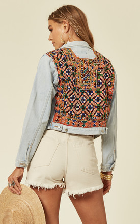 Cropped Light Wash Denim Jacket With Embroidery And Mirror Embellishments by Denim Stories Product photo