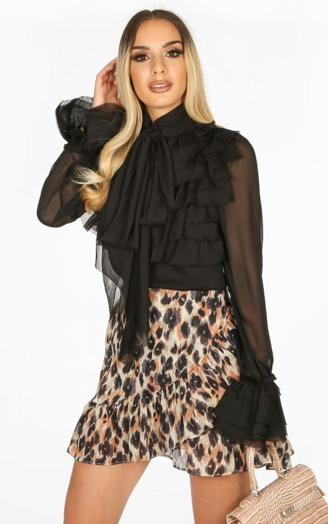 Frilled Sheer Chiffon Pussy Bow Blouse In Black by Dressed In Lucy