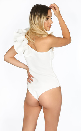 White One Shoulder Neoprene Bodysuit by Dressed In Lucy