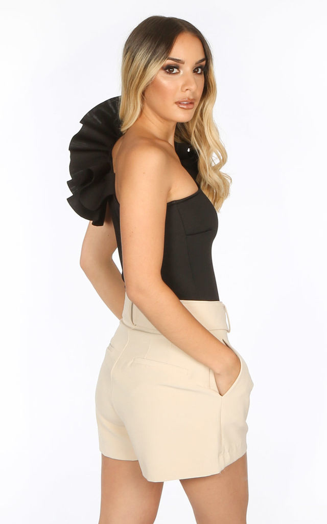 Black One Shoulder Neoprene Bodysuit by Dressed In Lucy
