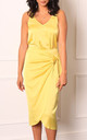 Satin Wrap Over Curve Hem Midi Skirt in Lemon Yellow by One Nation Clothing