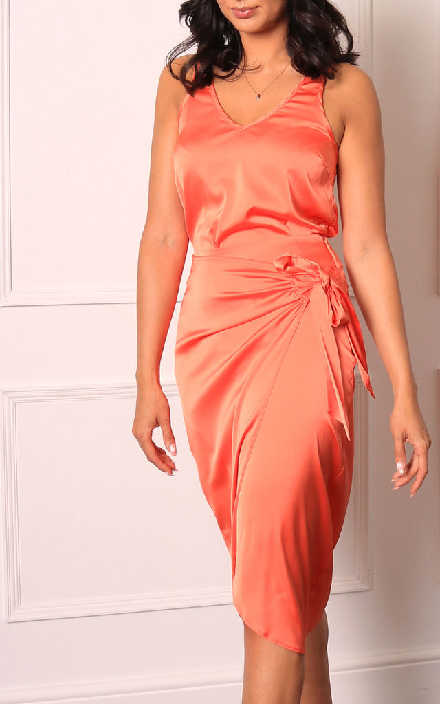 Satin Wrap Over Curve Hem Midi Skirt in Coral Orange by One Nation Clothing