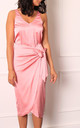 Satin Wrap Over Curve Hem Midi Skirt in Mid Pink by One Nation Clothing