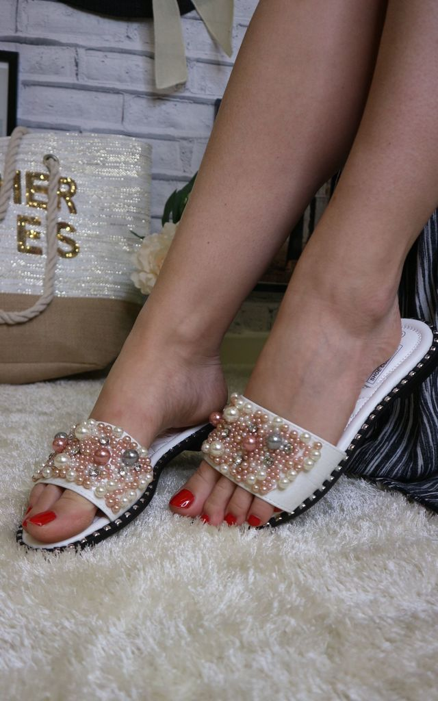 White pearl sliders by Bond Street Shoe Company
