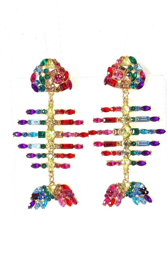 Multi-Coloured Jeweled Fish Bone Statement Earrings by Olivia Divine Jewellery
