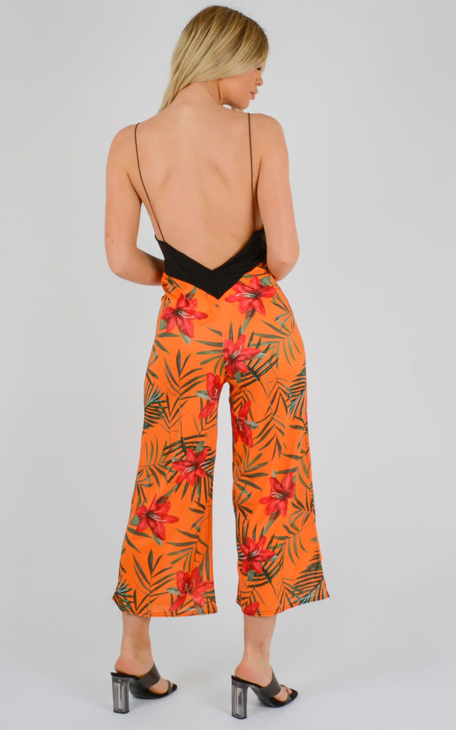 Molly Botanic Print Backless Jumpsuit In Orange by Vivichi