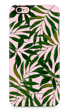 Phone Case in Pink Tropical Leaves Print by Peggy and Sam