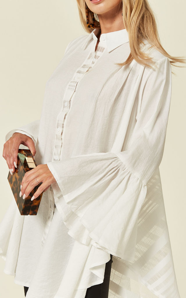 Oversized Shirt with Frilled Sleeves and Mesh Back in White by CY Boutique