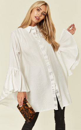 Oversized Shirt With Frilled Sleeves And Mesh Back In White by CY Boutique Product photo