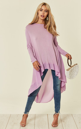 Nana – Hi Low Long Sleeve Chiffon Lilac Top by Blue Vanilla Product photo