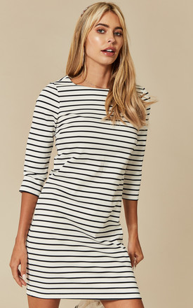 White With Navy Stripe Mid Sleeve Mini Dress by VILA Product photo