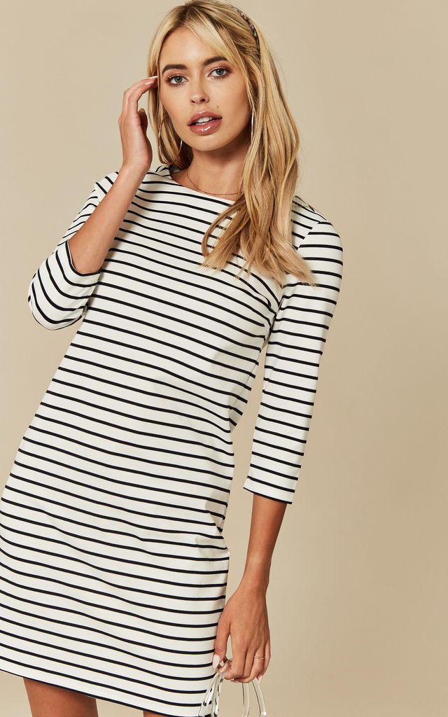 White with Navy Stripe Mid Sleeve Mini Dress by VILA