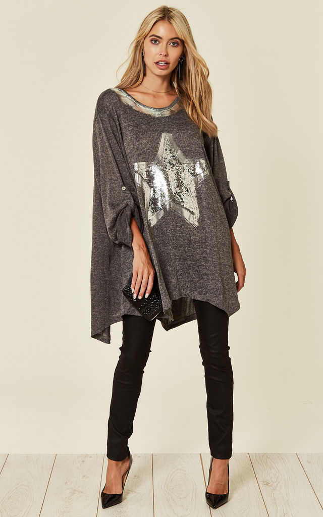 SUDREY - Oversized Grey Sparkle Star Top by Blue Vanilla