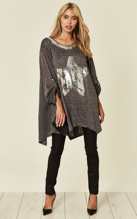 Sudrey   Oversized Grey Sparkle Star Top by Blue Vanilla Product photo