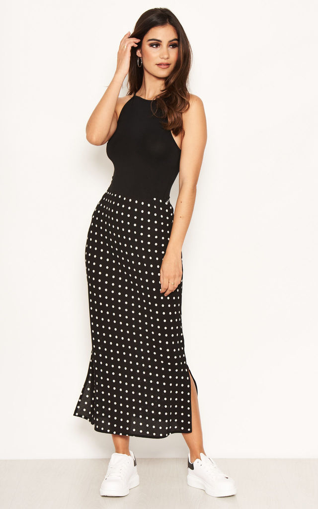 Black Polka Dot Midi Skirt by AX Paris