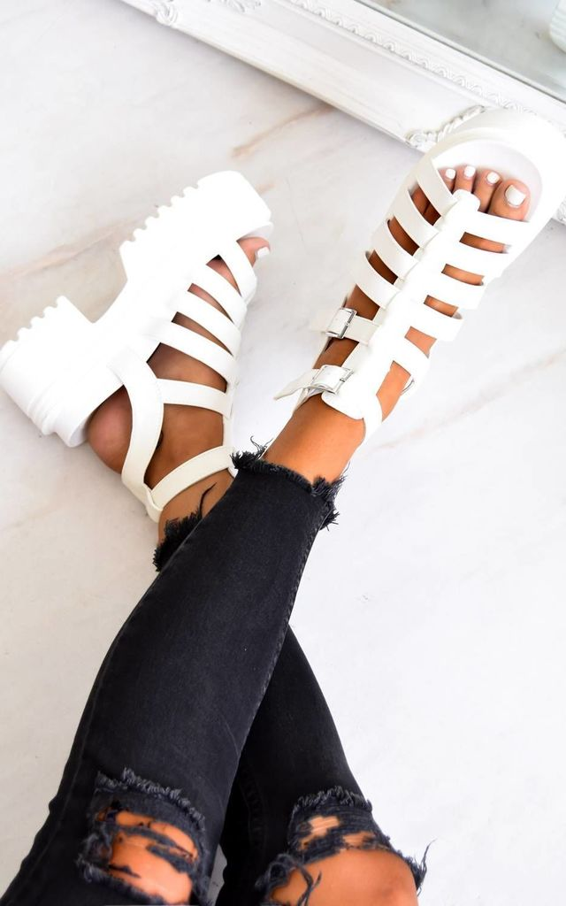 Chunky Platform Caged Sandals - White PU by AJ | VOYAGE