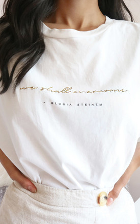 Feminist Oversized Slogan Gloria Steinem T Shirt Top Leopard Print White by Rani & Co. Product photo