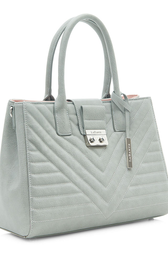 Grey Vegan Leather Tote Shoulder Bag by Always Chic