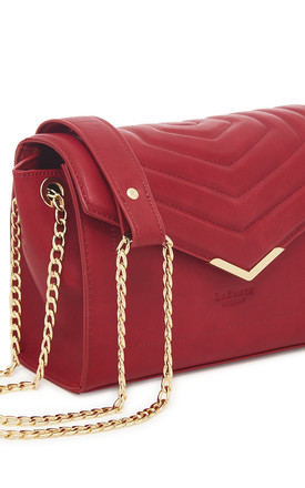 Red Vegan Leather Cross Body Bag With Gold Strap by Always Chic