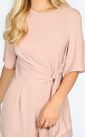 Nude Tie Front Tailored Playsuit by Dressed In Lucy