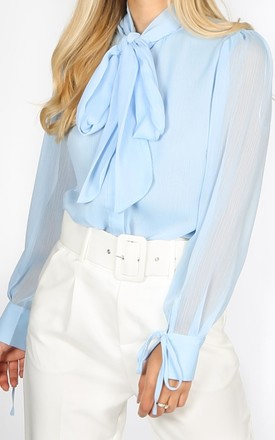 Blue Chiffon Pussy Bow Blouse by Dressed In Lucy