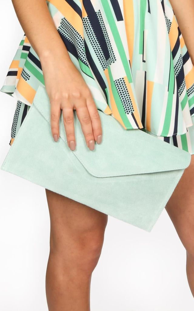 Mint Suede Envelope Clutch Bag by Dressed In Lucy