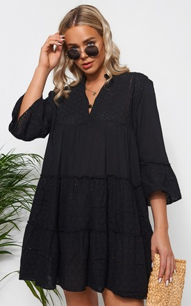 Zara Black Broderie Smock Dress by The Fashion Bible Product photo