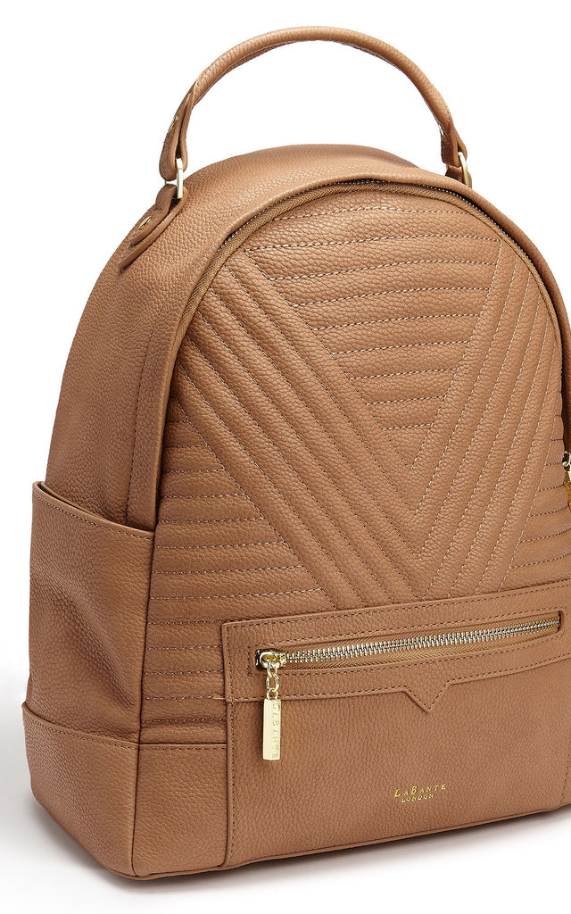 Camberwell Faux Leather Quilted Backpack in Brown by Always Chic