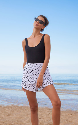 White/Black Spot High Waisted Beach Shorts by Styled In London