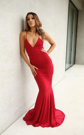 Bella Scarlet Backless Evening Maxi Gown by Naked Dresses Product photo