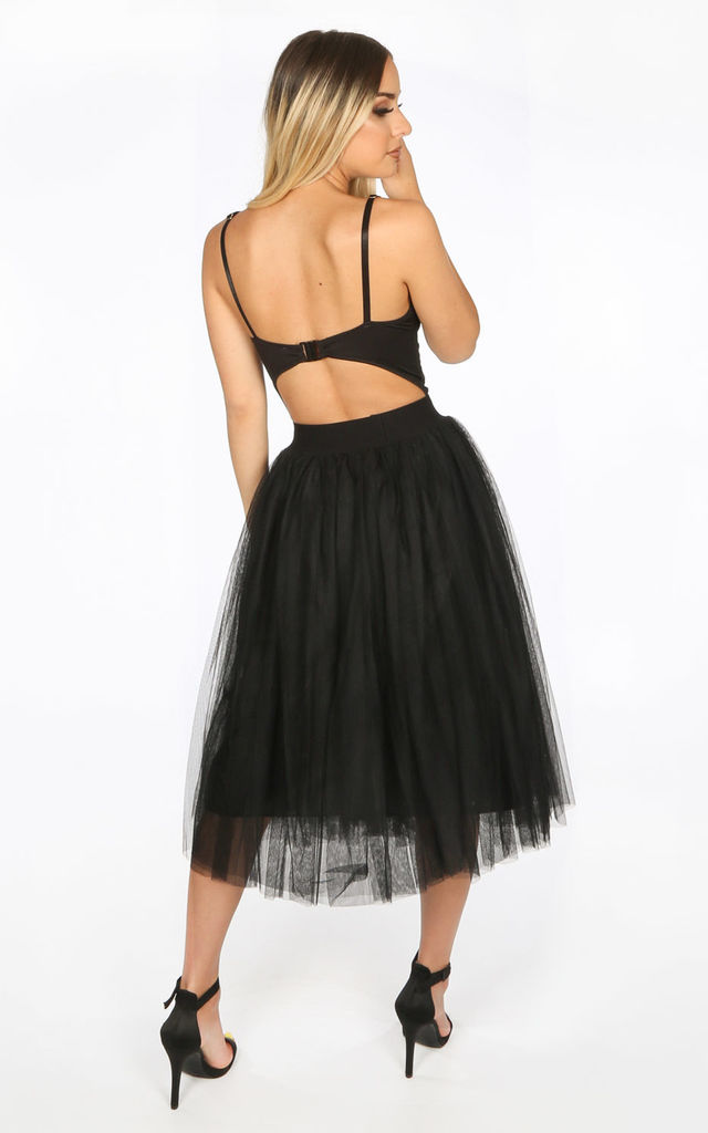 Midi Tulle Skirt In Black by Dressed In Lucy
